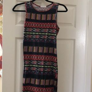 Below the knee fitted tribal design dress